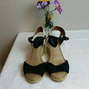 Lucky Brand Black Espadrille Wedge Sandals